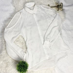 Ambiance Apparel Sheer White Long Sleeve Size S